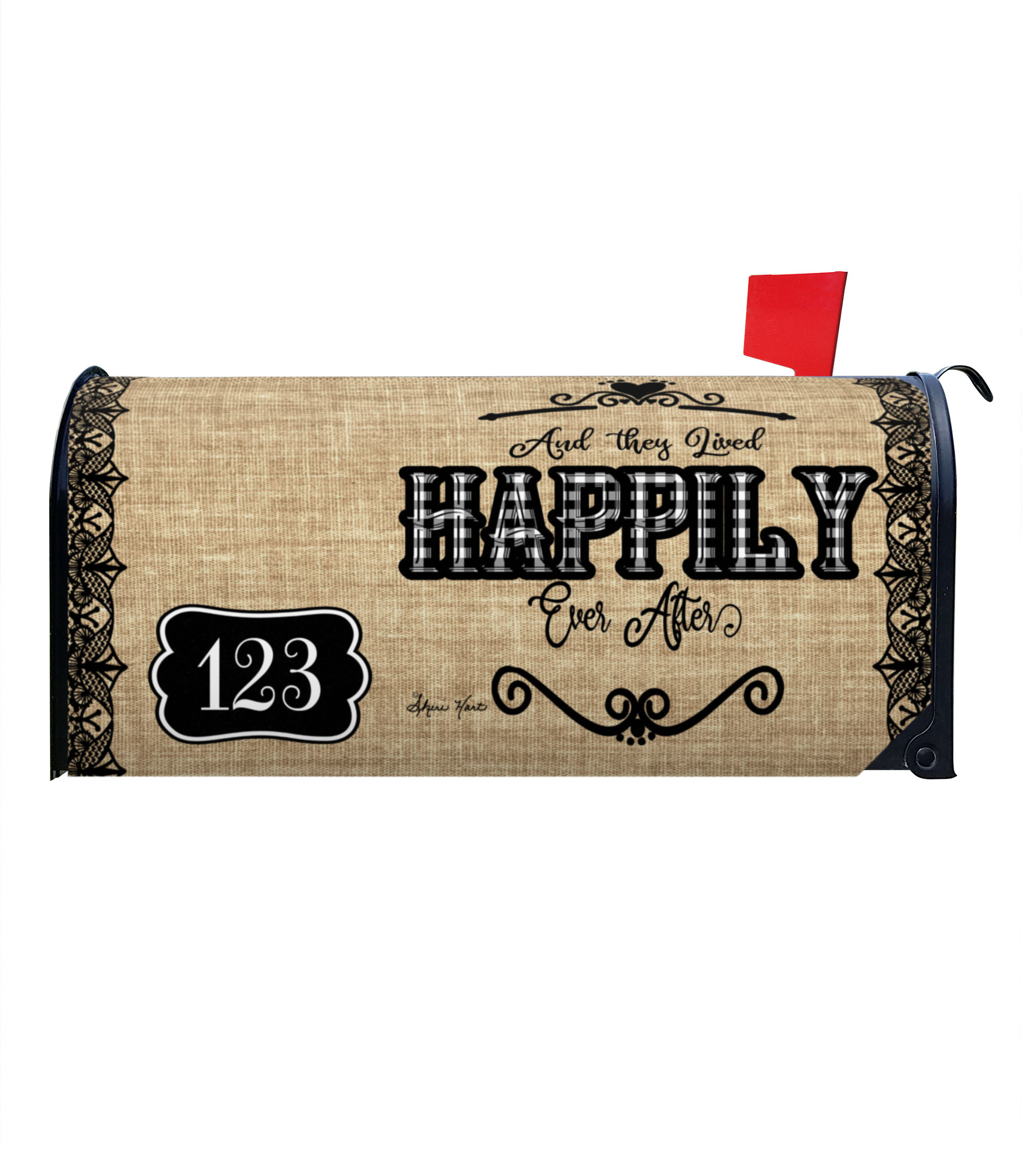 Happily Ever After Burlap Magnetic Mailbox Cover 6 5 W X 8 5 H X 19 L Custom Printed Flags Flagology Com