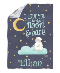 Personalized Love You to the Moon and Back Baby Blanket