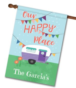 Personalized Our Happy Place Camping House Flag
