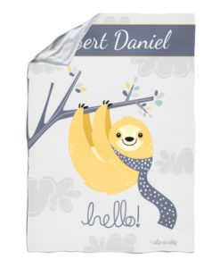 Personalized Sloth Baby Blanket