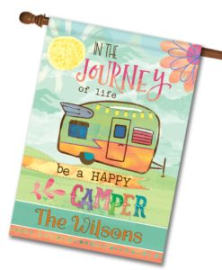 Personalized Watercolor Camper House Flag