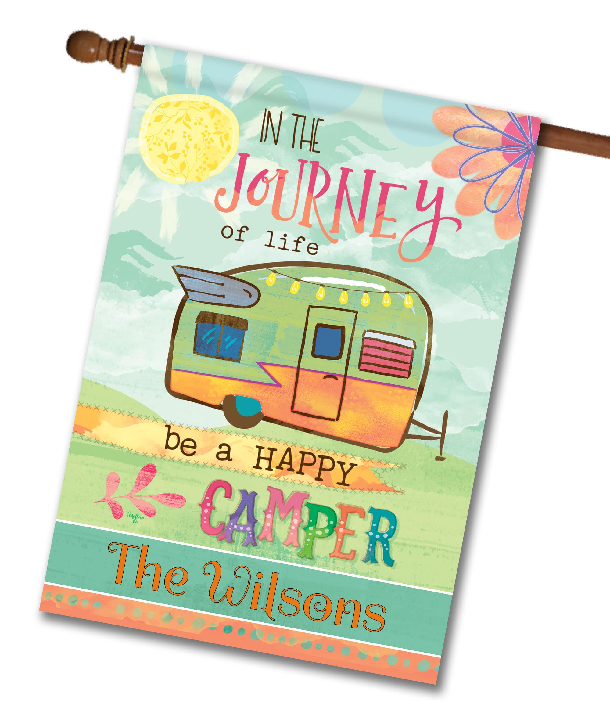 Personalized Be A Happy Camper - House Flag - 28