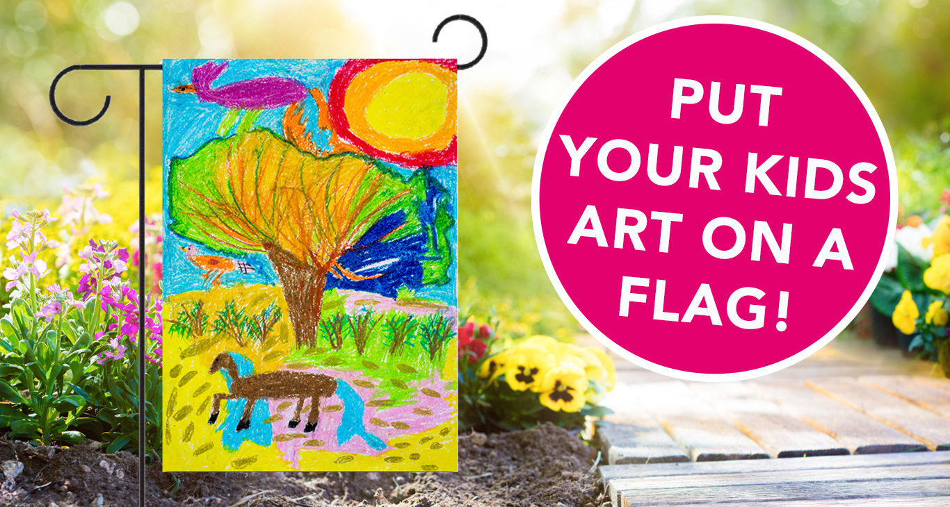 Child's artwork on a garden flag - personalized