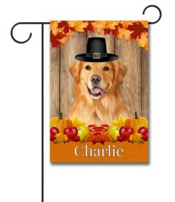 Golden Retriever Thanksgiving Fall Garden Flag