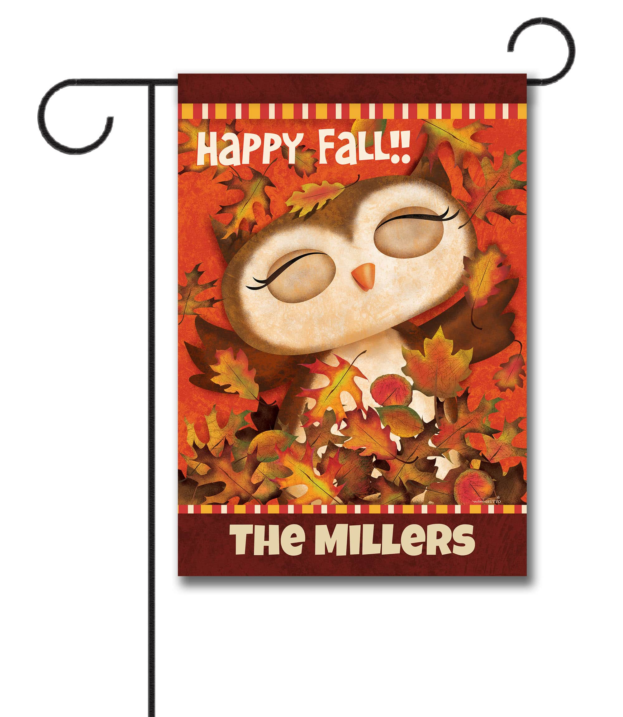 Personalized Owl Fall Garden Flag
