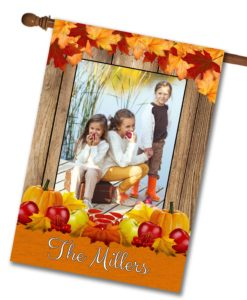Thanksgiving Photo House Flag