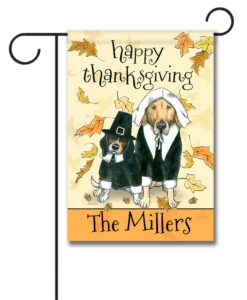 Personalized Thanksgiving Dogs Garden Flag