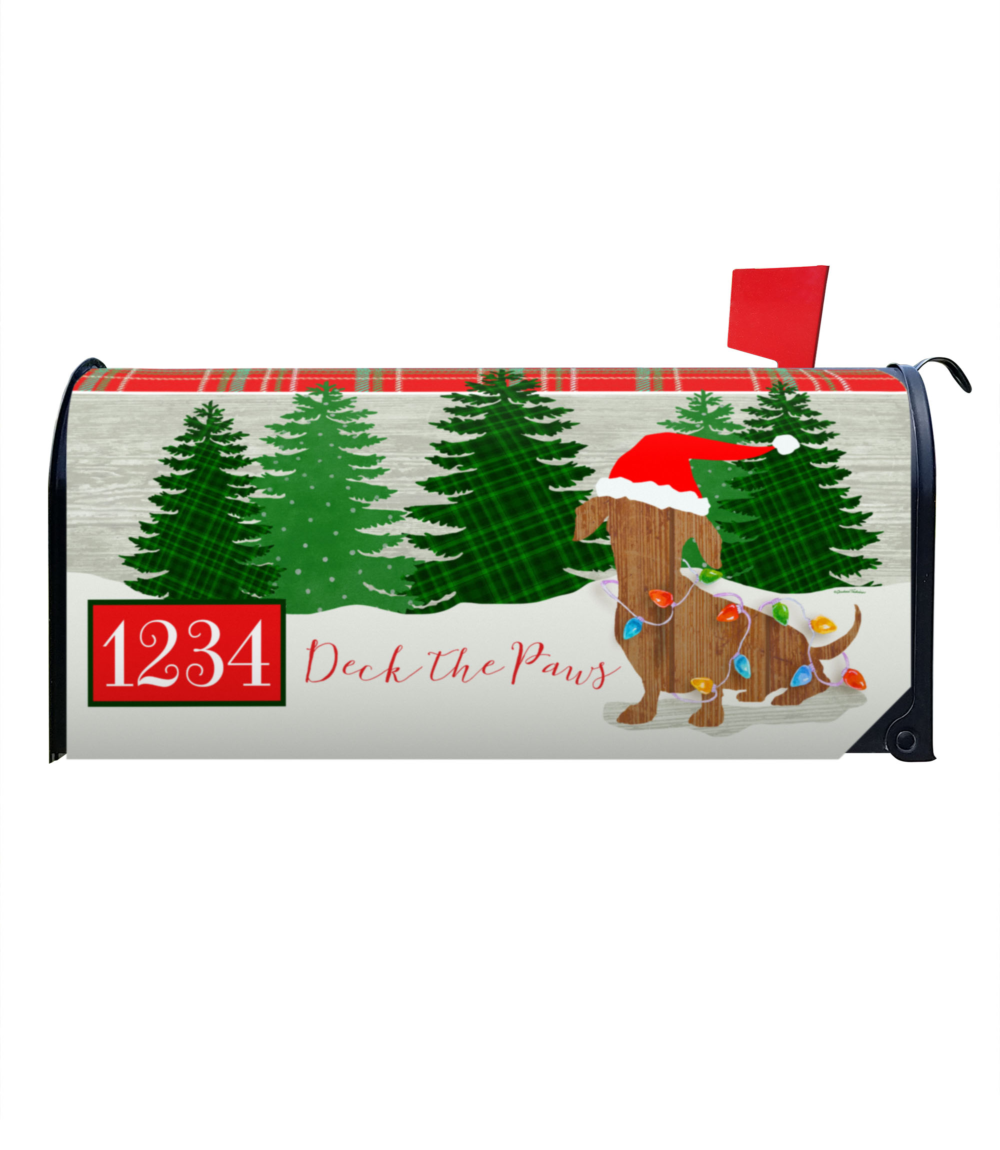 Deck The Paws Dachsund Magnetic Mailbox Cover 6 5 W X 8 5 H X 19 L Custom Printed Flags Flagology Com