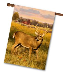 Deer on Farm Fall House Flag