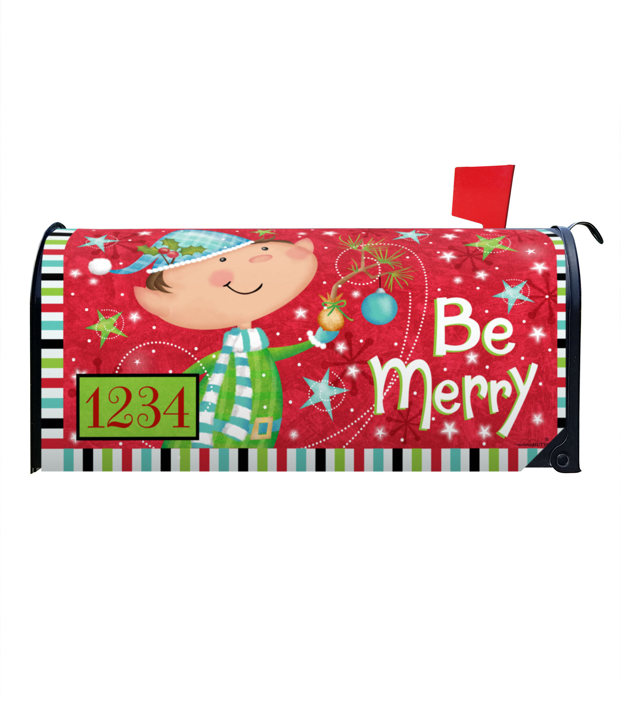 Be Merry Christmas Elf Magnetic Mailbox Cover 6 5 W X 8 5 H X 19 L Custom Printed Flags Flagology Com