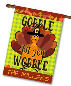 Personalized Gobble Thanksgiving House Flag