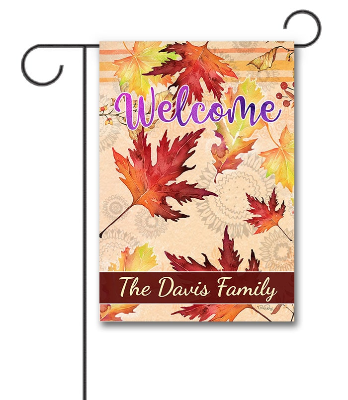 Personalized Maple Leaves Fall Garden Flag