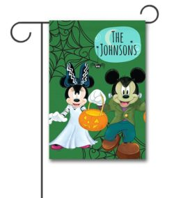 Personalized Mickey Mouse and Minnie Mouse Frankenstein Halloween Garden Disney Flag