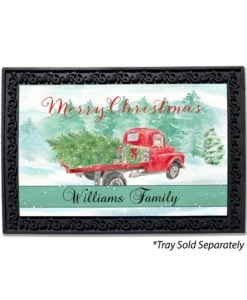 Personalized Red Truck Christmas Doormat