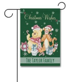 Personalized Winnie the Pooh Christmas Garden Disney Flag