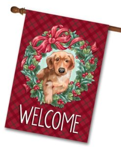 Puppy Wreath Christmas House Flag