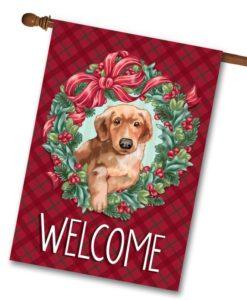 Puppy Wreath Christmas House Flag