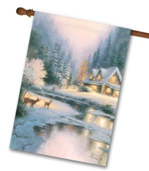 Thomas Kinkade Cottage Winter Deer House Flag