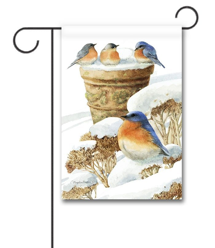 Bluebirds Winter Garden Flag