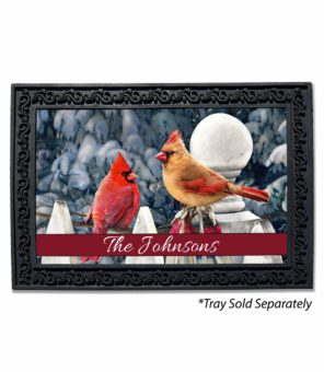 Personalized Cardinals on Fence Winter Doormat