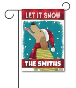 Personalized Dog Catching Snowflakes Garden Flag