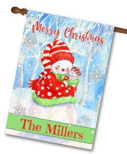 Personalized Merry Christmas Snowman House Flag