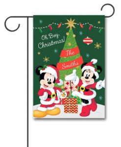 Personalized Santa Mickey and Minnie Christmas Garden Disney Flag