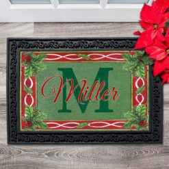 Holly Personalized Christmas Doormat