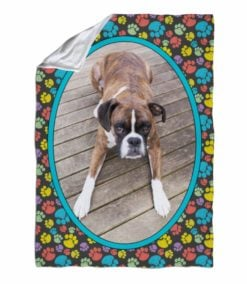 Multicolor Dog Paws Photo Blanket