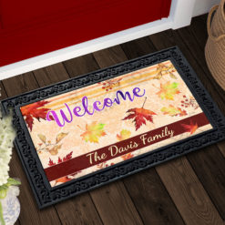 Personalized Fall Maple Leaves Welcome Doormat