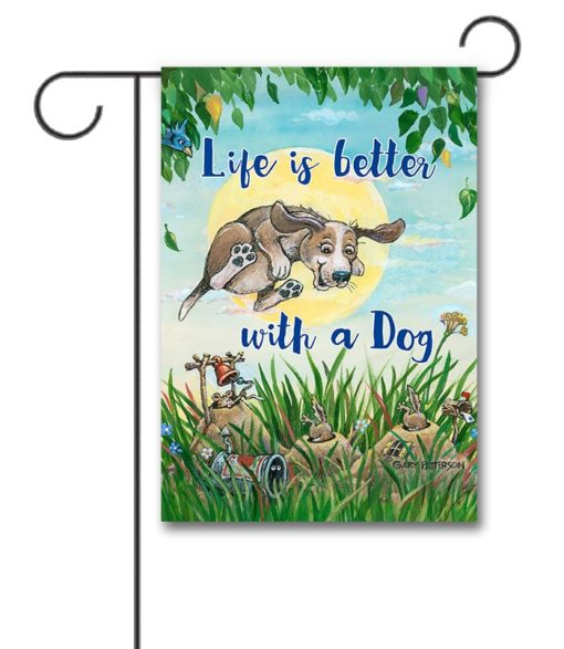 Gary Patterson Jumping Dog Spring Garden Flag