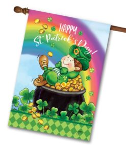 Leprechaun Pot of Gold St. Patrick's Day House Flag