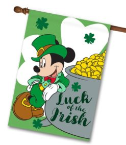 Mickey Mouse St. Patrick's Day House Disney Flag