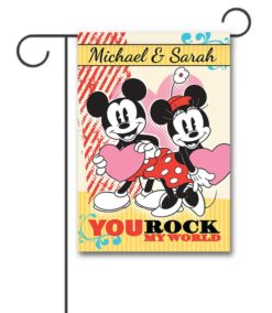 Personalized Minnie Mouse and Mickey Mouse Valentine's Garden Disney Flag