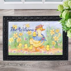 Personalized Spring Ducks Welcome Doormat