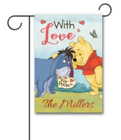 Personalized Winnie the Pooh and Eeyore Valentine's Day Garden Disney Flag