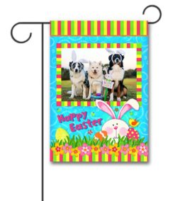 Hiding Bunny Easter Photo Garden Flag