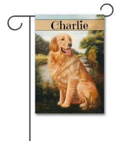 Personalized Golden Retriever Spring Garden Flag
