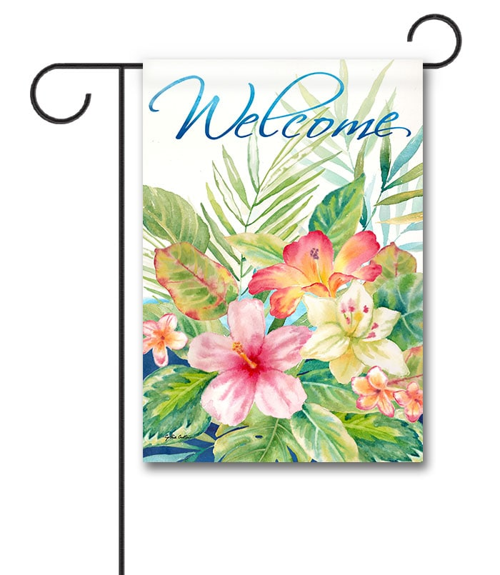 Tropical Island Paradise Welcome Flag – Garden (Cynthia Coulter)-min