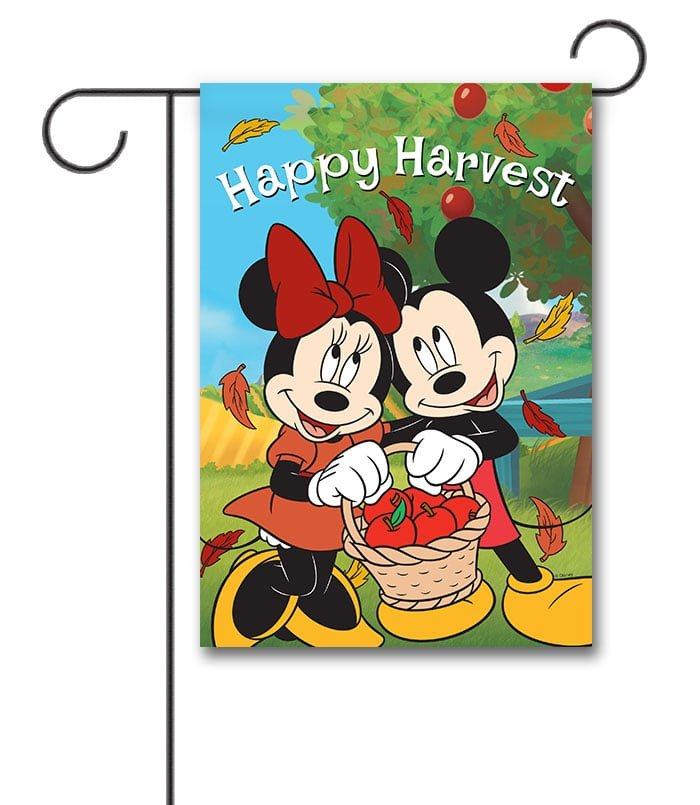 Mickey And Minnie Happy Harvest Garden Flag 12 5 X 18 Custom Printed Flags Flagology Com