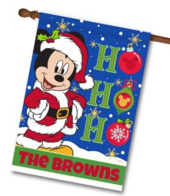 Personalized Mickey Mouse Santa Christmas Disney House Flag
