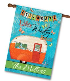 Personalized Orange Celebrate Camper House Flag