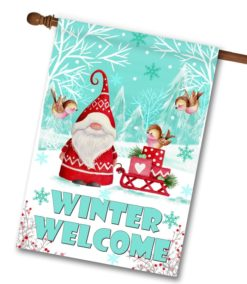 Gnome Winter Welcome Christmas House Flag