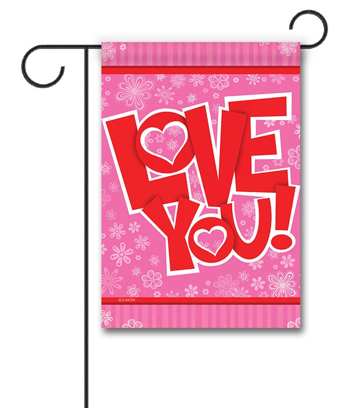 Love You Hearts Valentine's Garden Flag