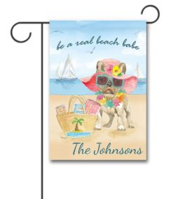Personalized French Bulldog Beach Summer Garden Flag