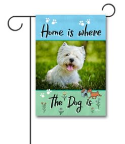 Illustrated Spring Photo Dog Garden Flag