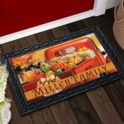 RFT2279 Personalized Red Farm Truck Fall Welcome Doormat