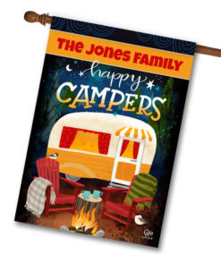 CYF2676 Campfire Personalized Camper House Flag