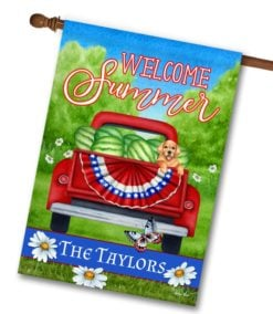 SHH2707 Personalized Red Truck Summer House Flag