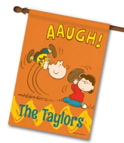 PNT2492 Personalized Peanuts Charlie Brown and Lucy Football Gag House Flag